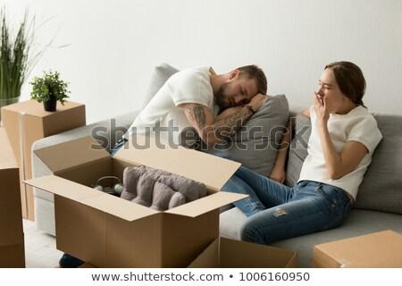 Fáradt család megnyugtató költözés ül padló Stock fotó © wavebreak_media