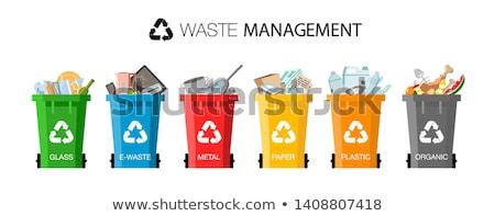 Szemét konténer fekete gumi szemeteskuka hulladék Stock fotó © bobhackett