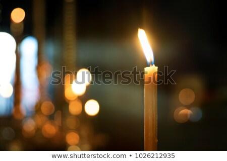 église chandelier brûlant bougies feu métal Photo stock © timbrk