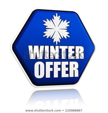 Tél ajánlat kék hatszög szalag hópehely Stock fotó © marinini