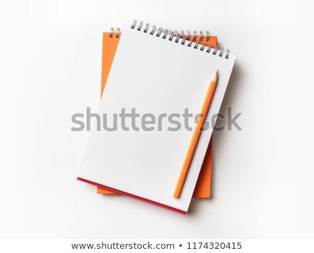 Beyaz kalem spiral defter kitap arka plan Stok fotoğraf © luckyraccoon