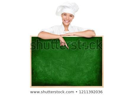 Femminile chef cartellone bianco Foto d'archivio © wavebreak_media
