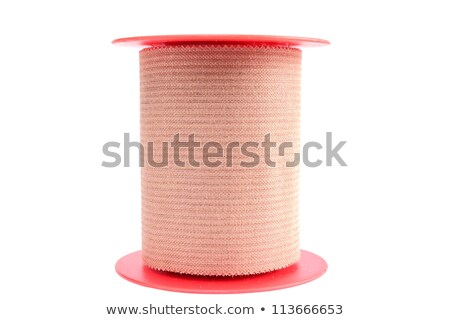 Foto stock: Rodar · adhesivo · yeso · aislado · blanco · plástico