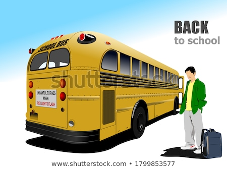 Yellow school bus and city junction. Vector illustration Stock photo © leonido