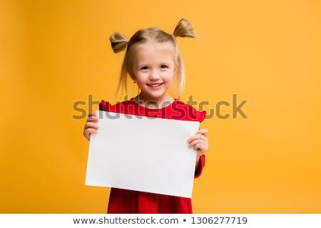 Küçük kız afiş iş ofis saç işçi Stok fotoğraf © pandorabox