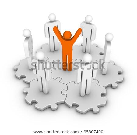 Social Network Icon On Orange Puzzle Stok fotoğraf © ALMAGAMI