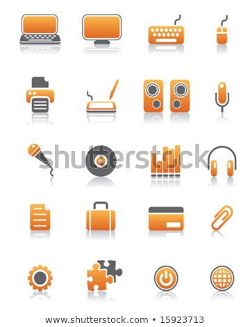 microphone icon on orange puzzle stock photo © tashatuvango