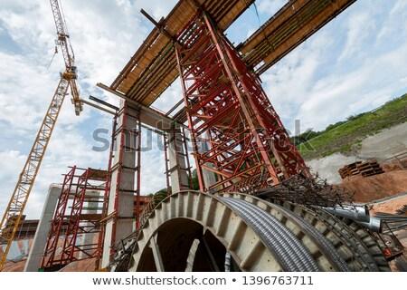 具体的な · 建設現場 · 建物 · 階 · 鋼 · 管 - ストックフォト © meinzahn