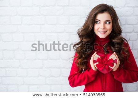 Kız genç güzel bir kadın kart yatak Stok fotoğraf © dash