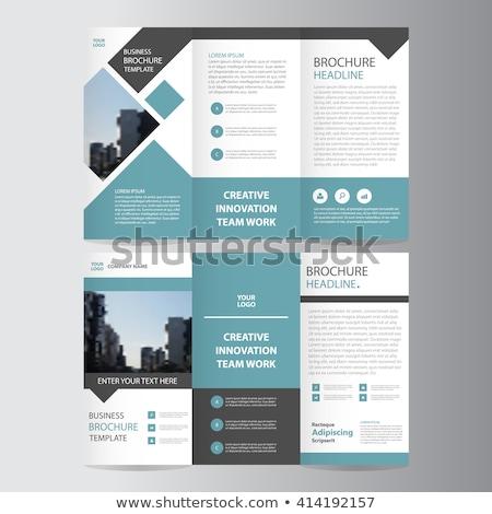 Broşür şablon iş dizayn arka plan mavi Stok fotoğraf © alescaron_rascar