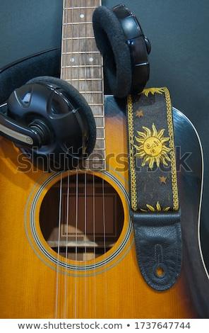 ギター ストラップ 孤立した 白 緑 革 ストックフォト © FOKA