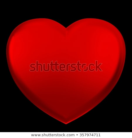 Glossy red heart on black Stock photo © dvarg
