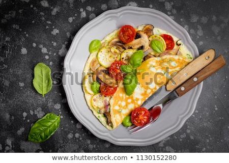卵 · 新鮮な · チャイブ · タマネギ · 食品 · 木材 - ストックフォト © m-studio