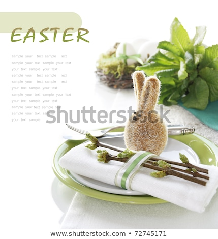 Easter still life with a silver bunny and eggs Stock photo © juniart