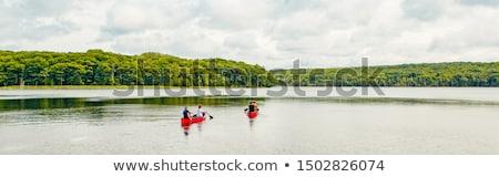 Vrienden rijden kajak bos rivier water Stockfoto © Kzenon