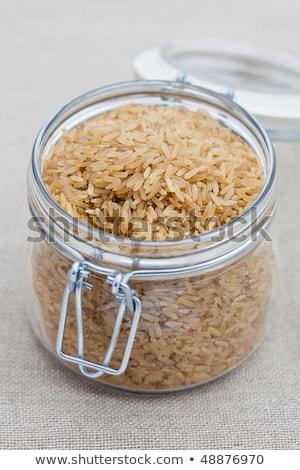 Marrón arroz grande vidrio jar abierto Foto stock © raphotos