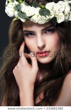 Luxurious Woman in Chaplet of Fresh Flowers Stock photo © gromovataya
