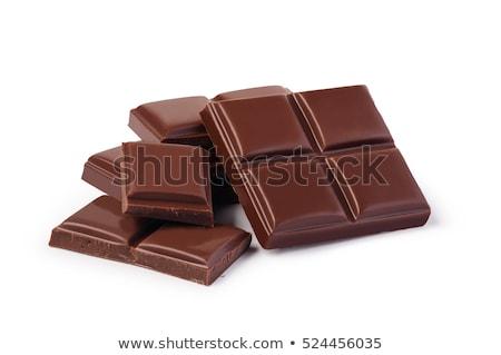 Közelkép csokoládé szelet izolált fehér háttér tej Stock fotó © Cipariss