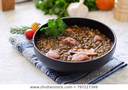 Lentils soup with sausage Stock photo © marimorena