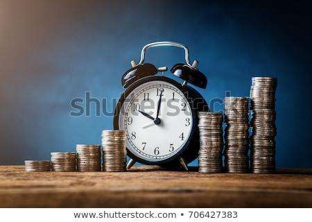 Az idő pénz miniatűr homokóra felső dollár bankjegyek Stock fotó © unikpix