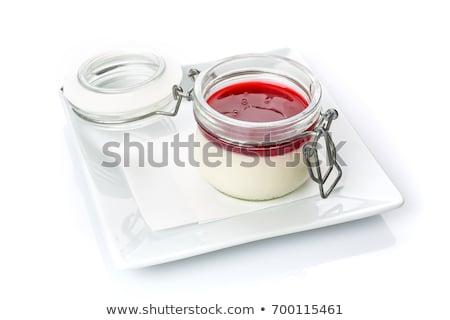Sobremesa maduro framboesas xarope festa vinho Foto stock © art9858