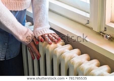 Riscaldamento radiatore bianco blu muro legno Foto d'archivio © smuki