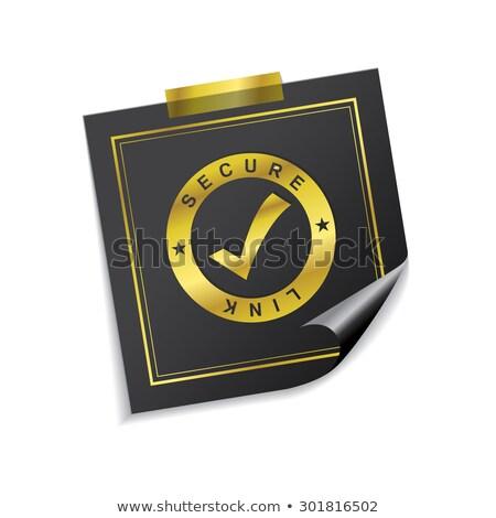 Biztonságos láncszem arany cetlik vektor ikon Stock fotó © rizwanali3d