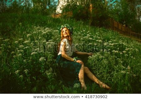 очаровательный женщину венок цветы голову портрет Сток-фото © deandrobot