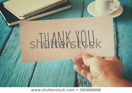 Teşekkür ederim mesaj defter kahve ofis kalem Stok fotoğraf © fuzzbones0