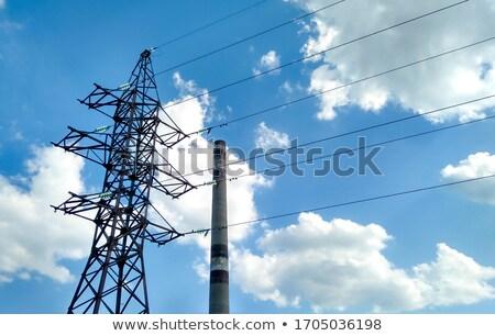 Cables electricidad último apoyo tecnología azul Foto stock © zurijeta