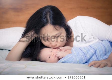 aile · bebek · mavi · kadın · gülümseme - stok fotoğraf © bluering