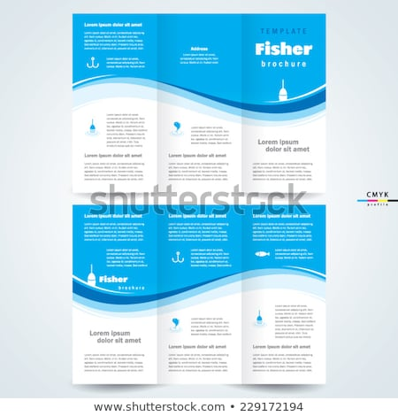 blue trifold brochure flyer template for your business Stock photo © SArts