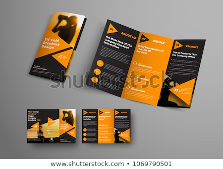 abstract orange and black tri fold brochure design corporate bus Stock photo © SArts