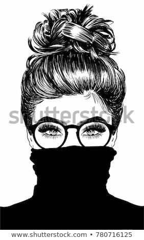 小さな 幸せ 女性 ファッション イラストレーター 図面 ストックフォト © deandrobot