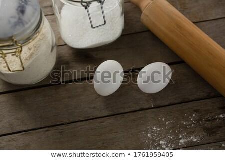 скалка яйца стекла деревянный стол голову мнение Сток-фото © wavebreak_media