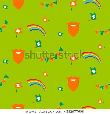 Red Beard Rainbow And Bunting Seamless Pattern Stock fotó © YoPixArt