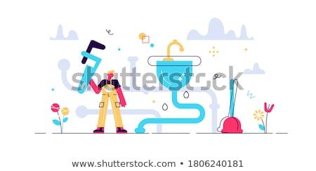 Encanador banho serviço reparar manutenção banheiros Foto stock © popaukropa