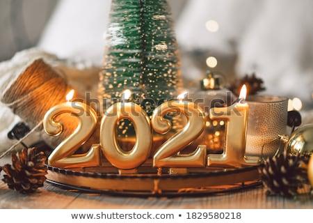 Happy new year noel ağacı hediyeler ev tebrikler hediye kutuları Stok fotoğraf © alexanderandariadna