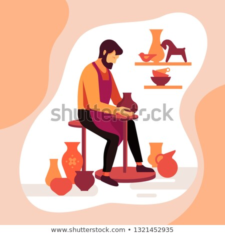 Pottery workshop poster with working potter Stock photo © studioworkstock