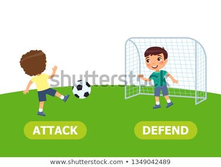 tegenover · woorden · aanval · kind · student · basketbal - stockfoto © bluering