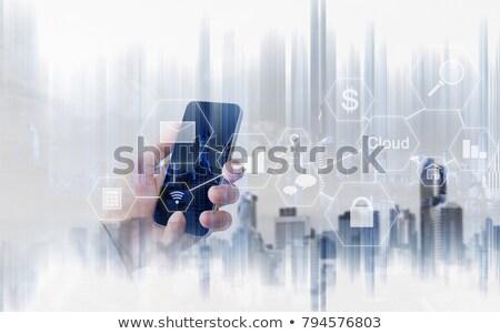рук футуристический мобильного телефона белый телефон стекла Сток-фото © wavebreak_media