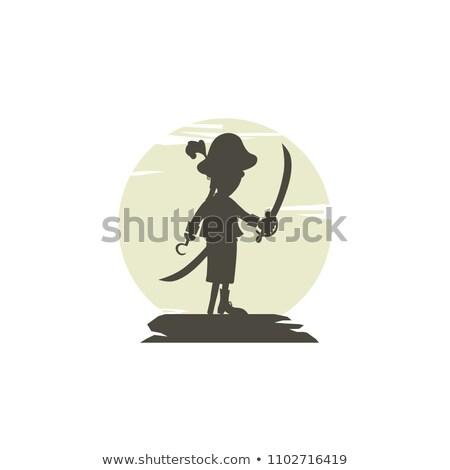 Hak pirackich sylwetka wektora logo sztuki Zdjęcia stock © vector1st