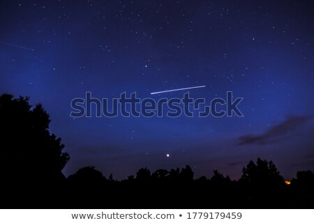 Stock photo: Northern lights night sky falling star abstract background