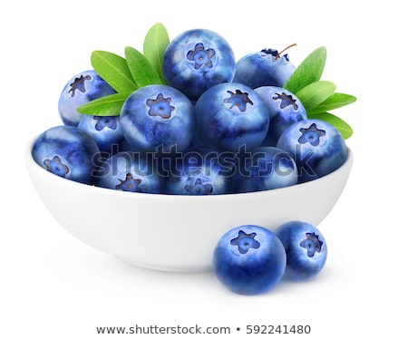 Fresh raw organic blueberries with leaf in white china bowl on white background. Top view. Space for stock photo © DenisMArt