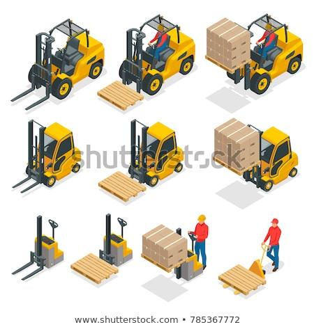 Isometrische vector heftruck vrachtwagen laag opslag Stockfoto © tashatuvango