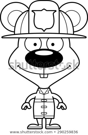 Stock photo: Cartoon Smiling Firefighter Mouse