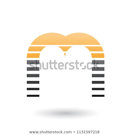 orange and black letter m icon with horizontal stripes vector il stock photo © cidepix