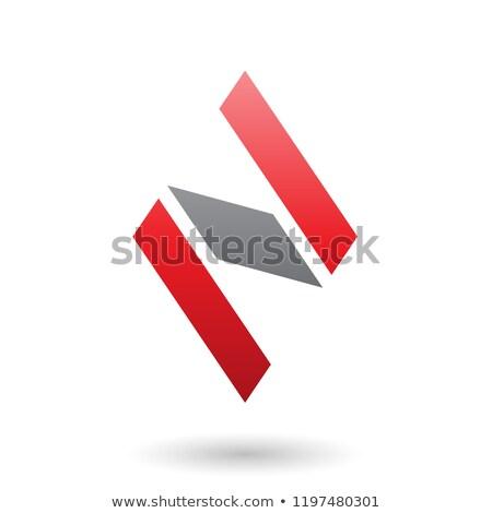 Piros fekete gyémánt alakú n betű vektor Stock fotó © cidepix