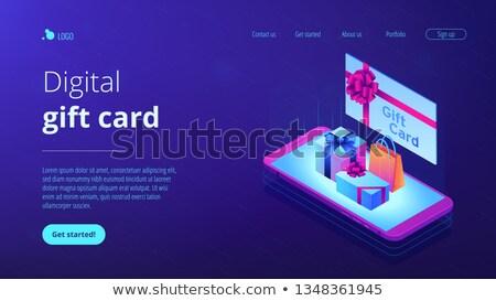 Tarjeta de regalo aplicación interfaz plantilla arco cinta Foto stock © RAStudio