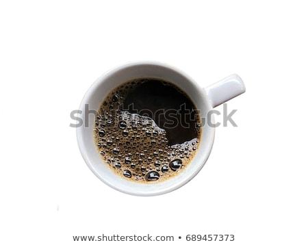 Zwarte koffie witte beker heldere houten rustiek Stockfoto © dash